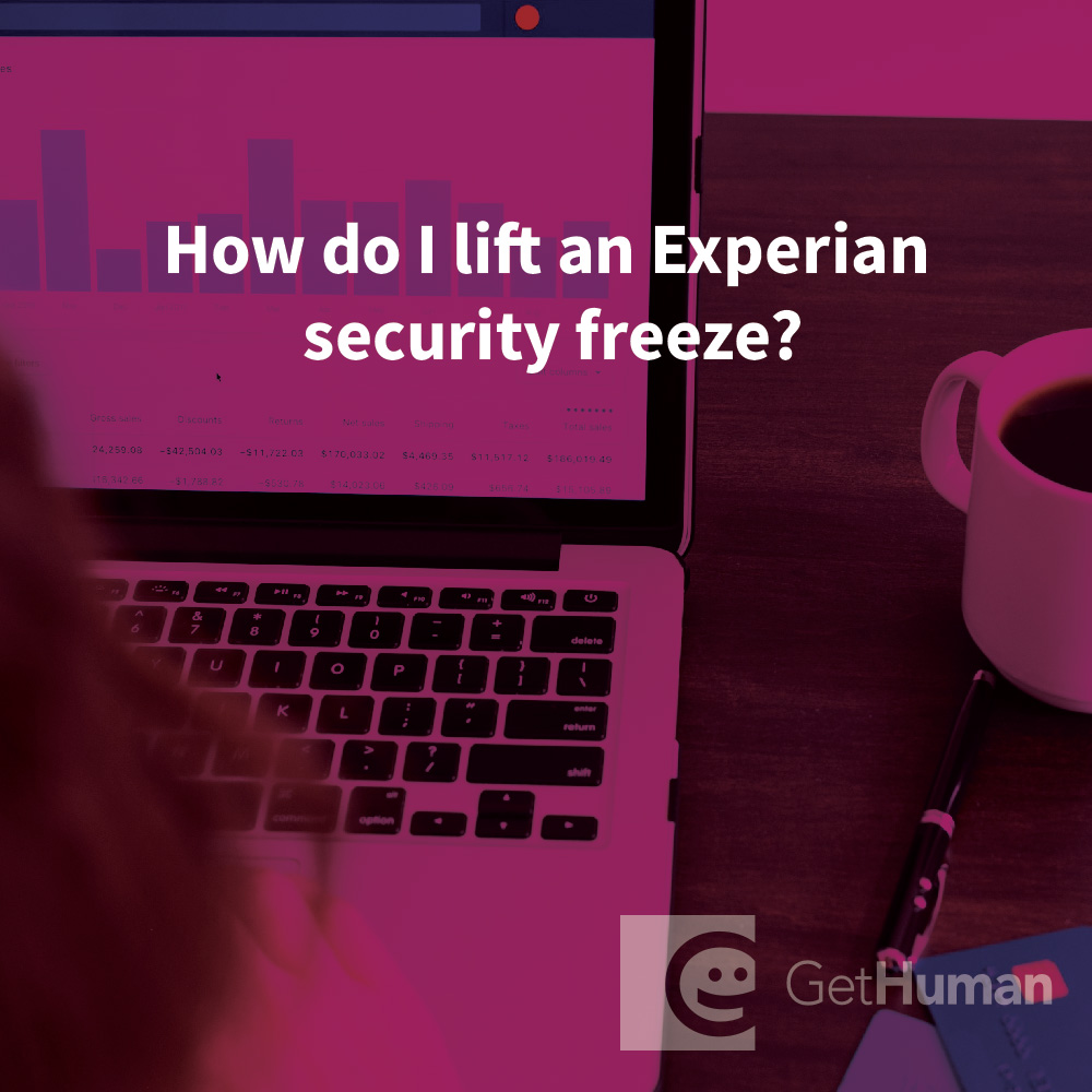 How do I lift an Experian security freeze?