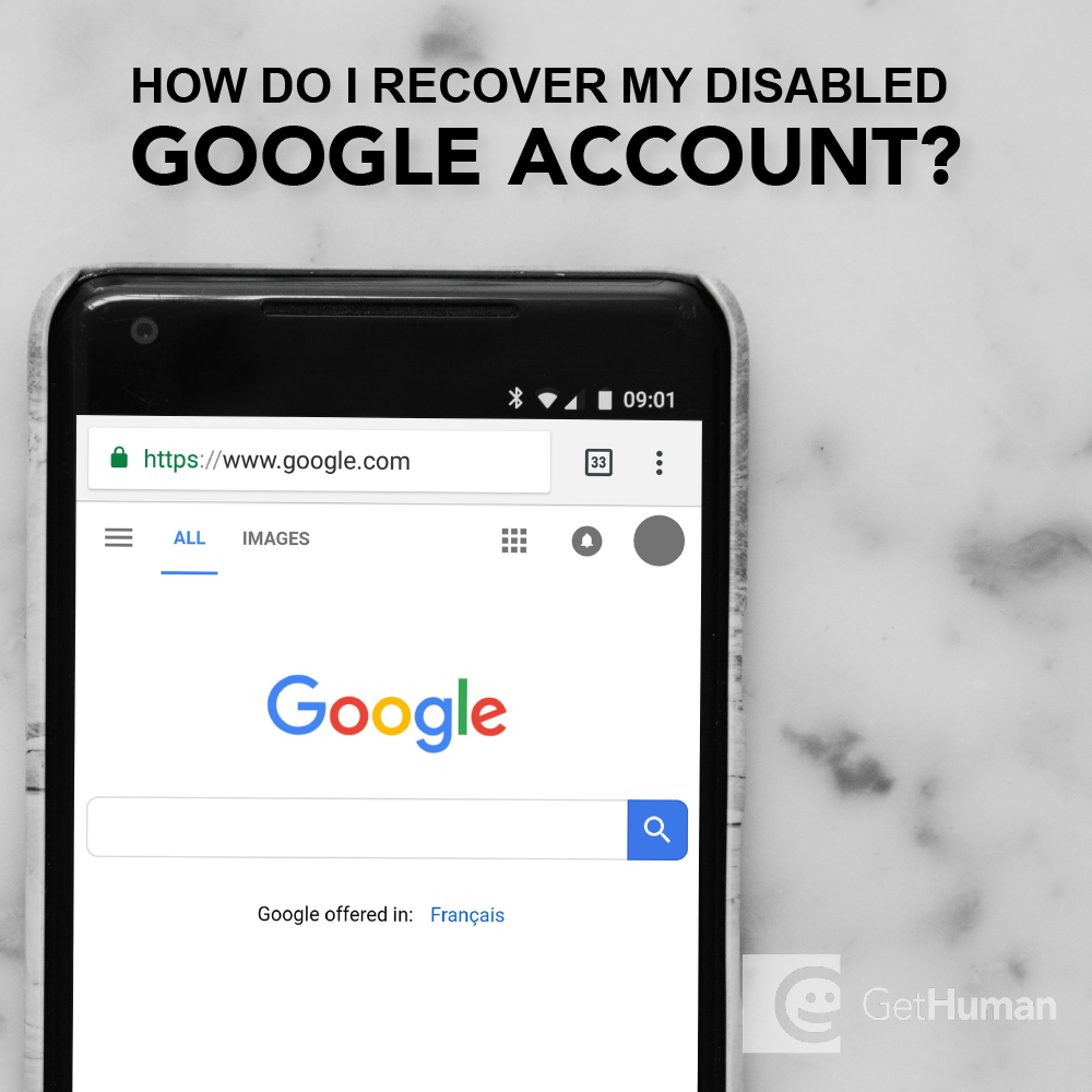 How do I recover my disabled Google account?