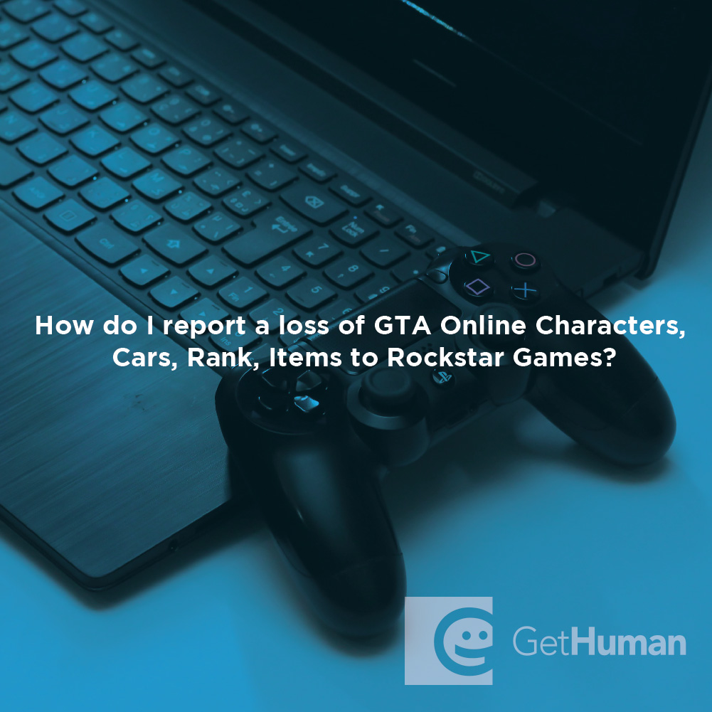 How do I report a loss of GTA online characters, cars, rank, or items to Rockstar Games?