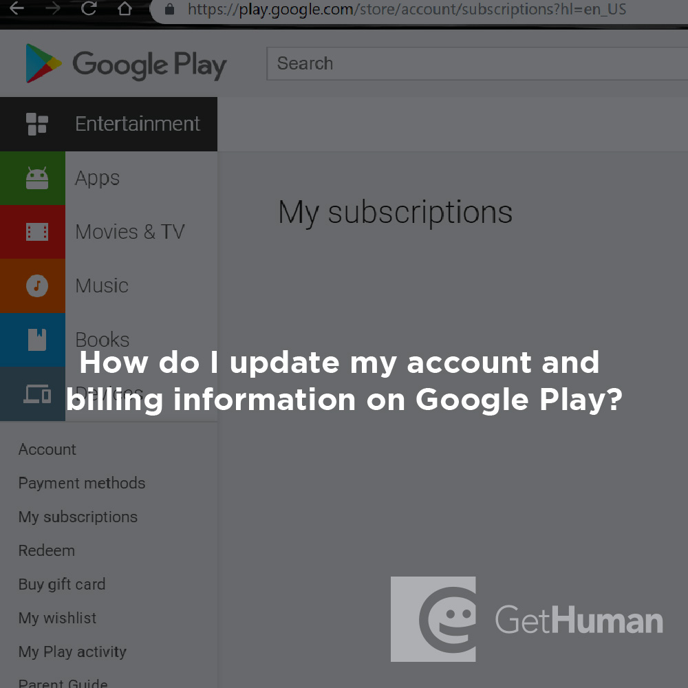 How do I update my account and billing information on Google Play?